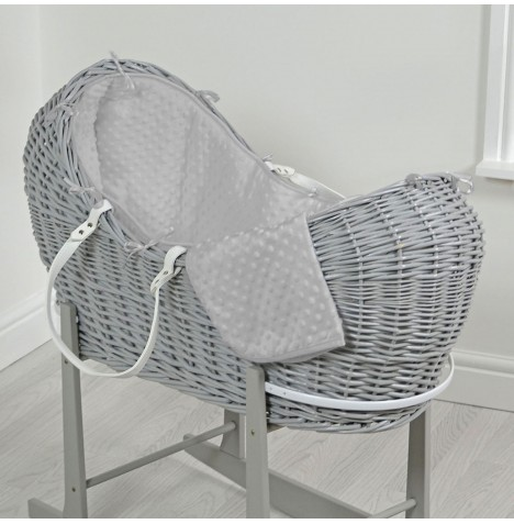 4baby Grey Wicker Snooze Pod - Grey Dimple