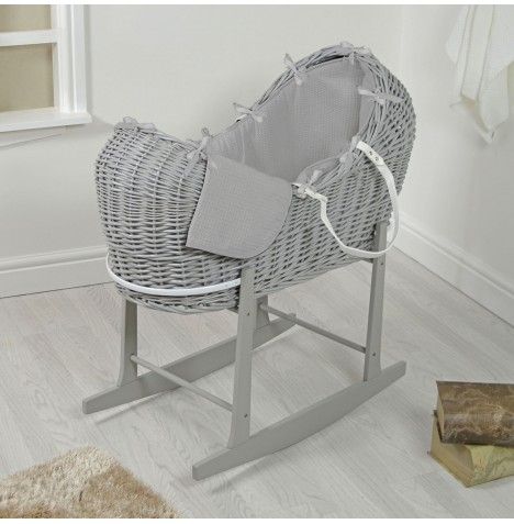 4baby Grey Wicker Snooze Pod & Rocking Stand - Grey Waffle