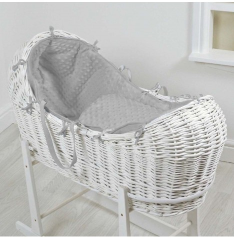 4baby White Wicker Snooze Pod -Grey Dimple