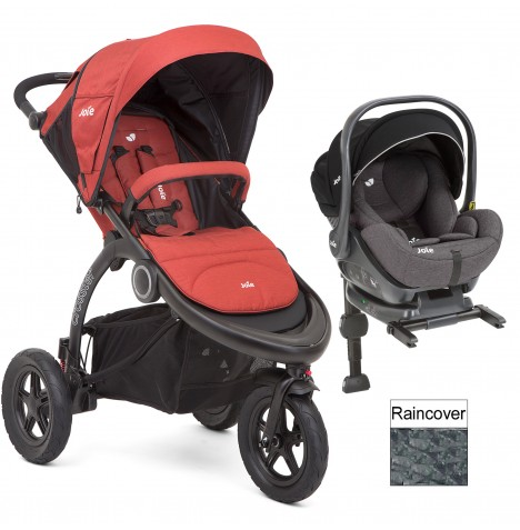 Joie Crosster 3 Wheeler (i-Level) Travel System & ISOFIX Base - Rust