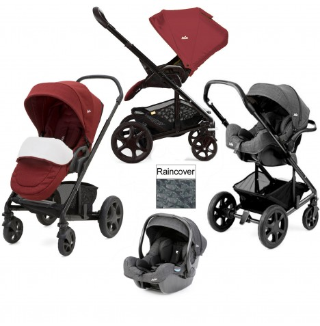 Joie Chrome DLX (i-Gemm) Travel System (inc Footmuff) - Cranberry