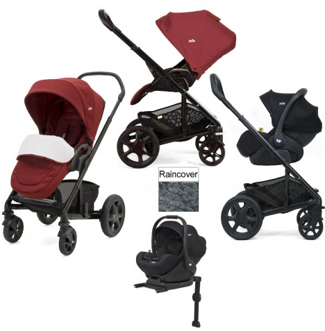Joie Chrome DLX (i-Level) Travel System (inc Footmuff & ISOFIX Base) - Cranberry