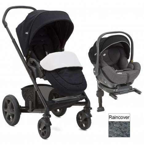 Joie Chrome DLX (i-Level) Travel System (inc Footmuff & ISOFIX Base) - Navy Blazer