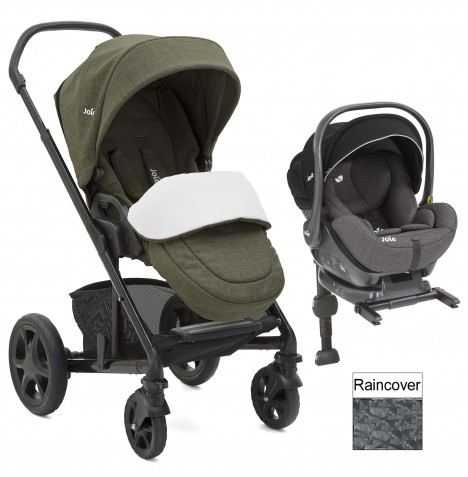 Joie Chrome DLX (i-Level) Travel System (inc Footmuff & ISOFIX Base) - Thyme