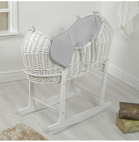 4baby White Wicker Snooze Pod & Rocking Stand - Grey Waffle