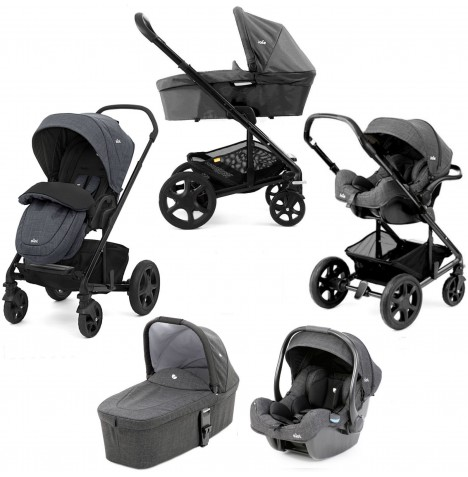 Joie Chrome DLX (i-Gemm) Travel System + Carrycot (inc Footmuff) - Pavement