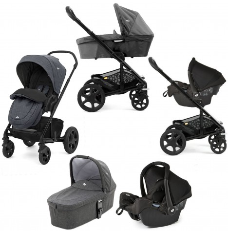 Joie Chrome DLX Travel System with Gemm Car Seat, Carrycot & Footmuff - Pavement
