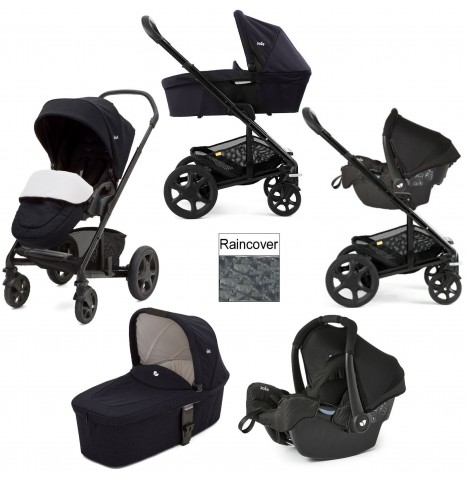 Joie Chrome DLX (Gemm) Travel System + Carrycot (inc Footmuff) - Navy Blazer