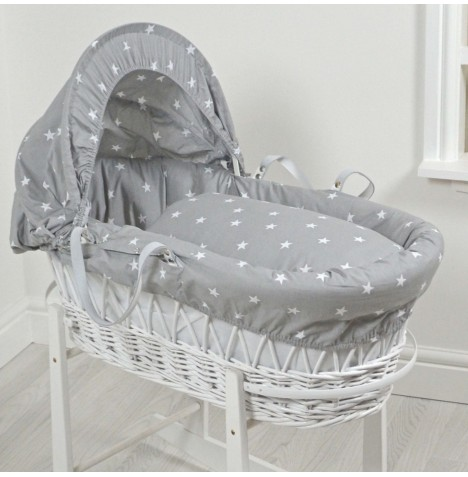 4Baby Padded White Wicker Baby Moses Basket - Grey / White Stars