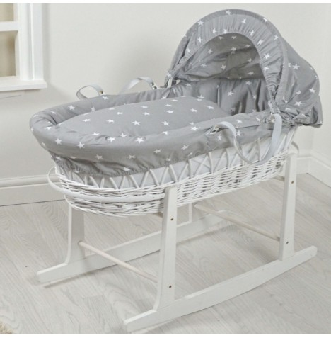 4Baby Padded White Wicker Baby Moses Basket & Rocking Stand - Grey / White Stars