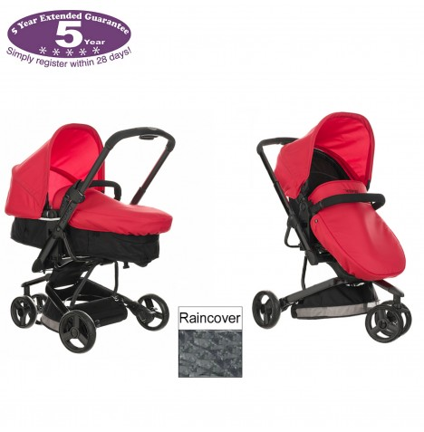Obaby Chase 3 Wheel 2 in 1 Pramette - Mars Black & Red..