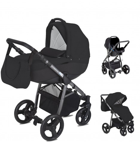 Mini Uno Stride Pram Travel System - Black