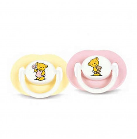 Philips Avent Silicone Soother / Pacifier / Dummy 3-6 Months (Pack of 2) - Teddy Bears (Pink / Yellow)