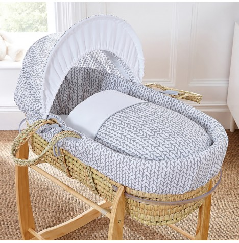 4baby Deluxe Palm Moses Basket - Seedling Grey