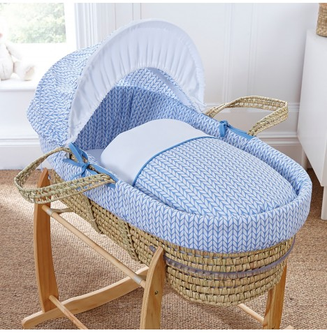 4baby Deluxe Palm Moses Basket - Seedling Blue