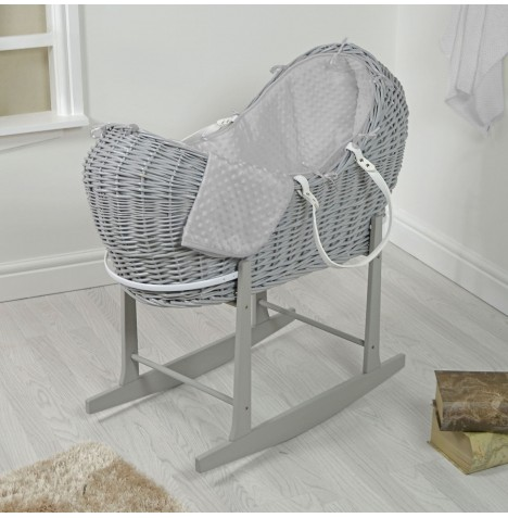 4baby Grey Wicker Snooze Pod & Rocking Stand - Grey Dimple..