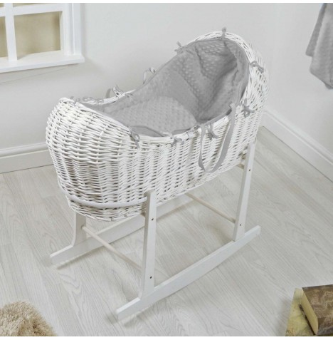 4baby White Wicker Snooze Pod & Rocking Stand - Grey Dimple..