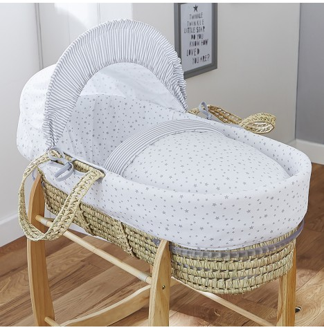 4baby Deluxe Palm Moses Basket - Sweet Little Stars Grey