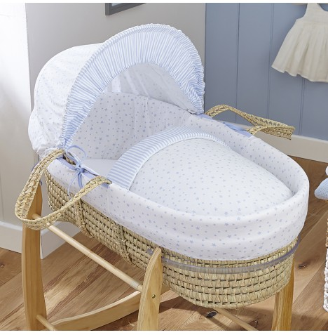 4baby Deluxe Palm Moses Basket - Sweet Little Stars Blue