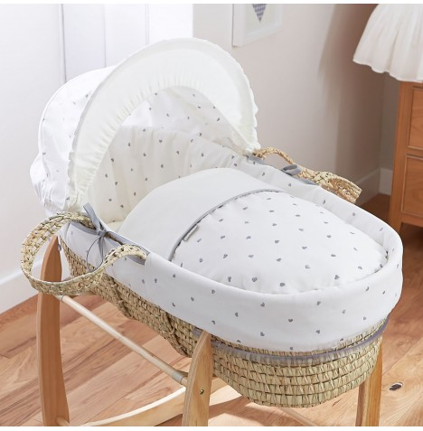 4baby Deluxe Palm Moses Basket - Forever Hearts