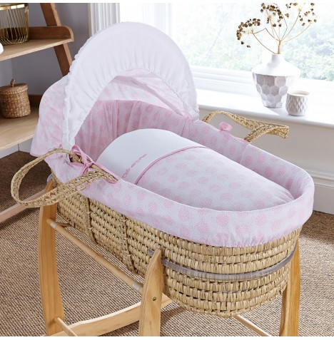 4baby Deluxe Palm Moses Basket - Powder Pop Pink