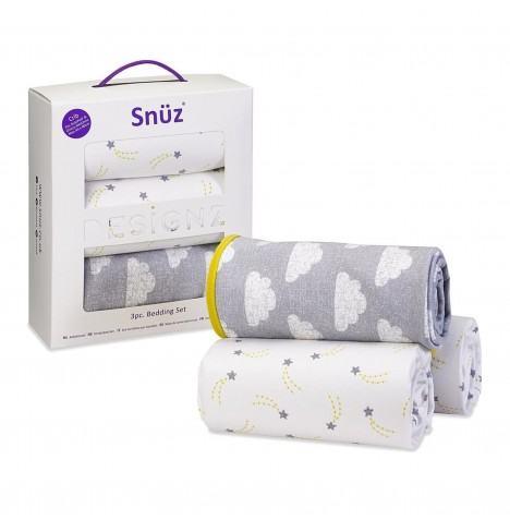 Snuz 3 Piece Crib Bedding Set - Cloud Nine