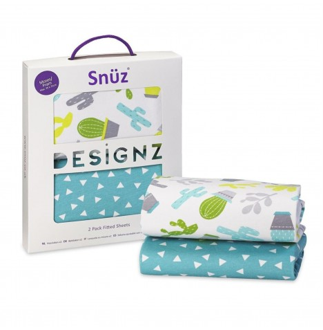 Snuz Moses Basket / Pram Fitted Sheets (2 Pack) - Rootin' Tootin'