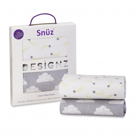 Snuz Crib Fitted Sheets (2 Pack) - Cloud Nine
