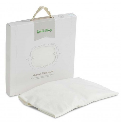 The Little Green Sheep Organic Cot Bed Jersey Fitted Sheet - White