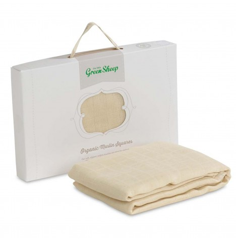 The Little Green Sheep Organic Cotton Muslin Squares (Pack Of 3) - Natural