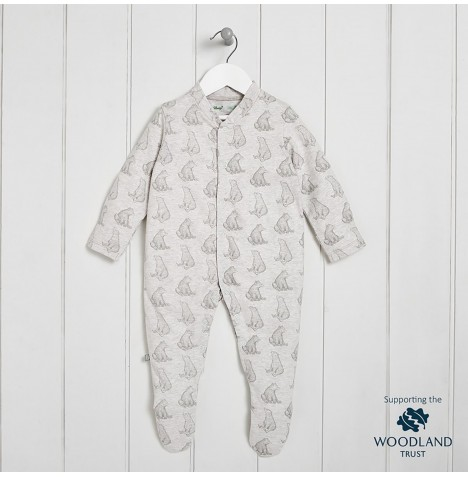 The Little Green Sheep Wild Cotton Organic Sleepsuit (0-3mths) - Bear