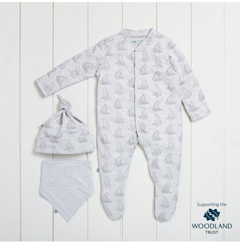 The Little Green Sheep Wild Cotton Organic Sleepsuit Gift Set (0-3mths) - Bear