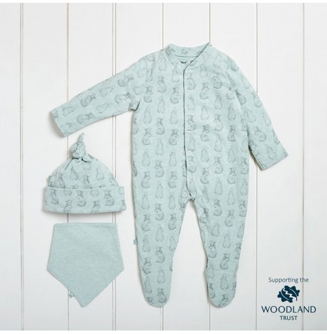 The Little Green Sheep Wild Cotton Organic Sleepsuit Gift Set (0-3mths) - Rabbit