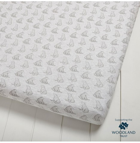The Little Green Sheep Wild Cotton Organic Cot / Cot Bed Fitted Sheet - Bear
