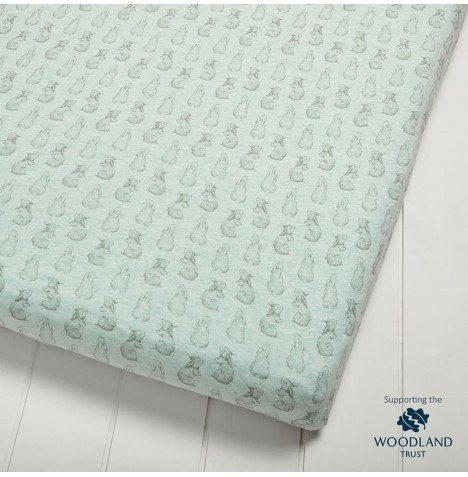 The Little Green Sheep Wild Cotton Organic Cot / Cot Bed Fitted Sheet - Rabbit