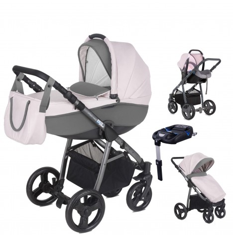 Mini Uno Stride Pram Travel System (With Isofix Base) - Candy Pink
