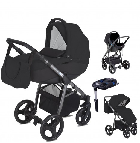 Mini Uno Stride Pram Travel System (With Isofix Base) - Black