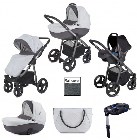 Mini Uno Stride Pram Travel System (With Isofix Base) - Grey Melange