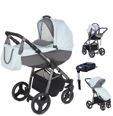 Mini Uno Stride Pram Travel System (With Isofix Base) - Sky