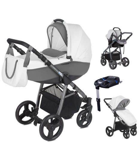 Mini Uno Stride Pram Travel System (With Isofix Base) - Cloud