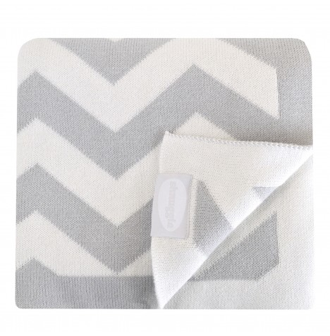 Shnuggle Luxury Knitted Blanket - Chevron Grey