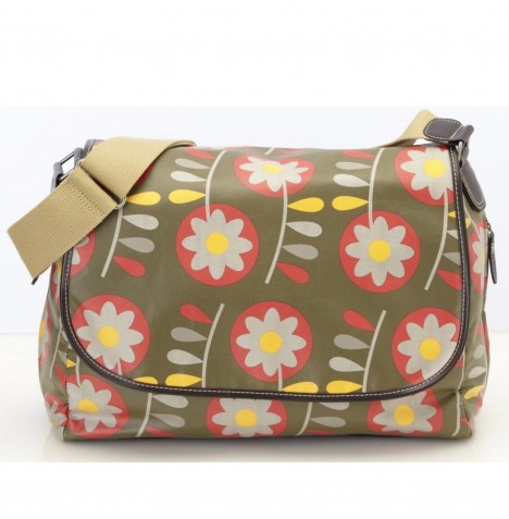 OiOi Retro Circular Floral Messenger Changing Bag - Olive Green