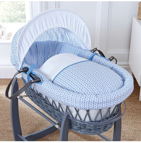 4baby Padded Grey Wicker Moses Basket - Seedling Blue