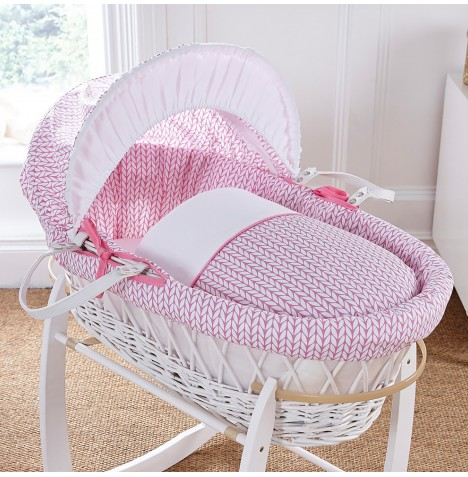 4baby Padded White Wicker Moses Basket - Seedling Pink