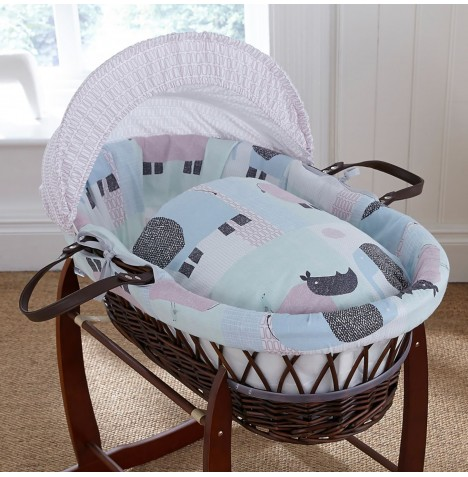 4baby Padded Dark Wicker Moses Basket - Ellie & Reymond