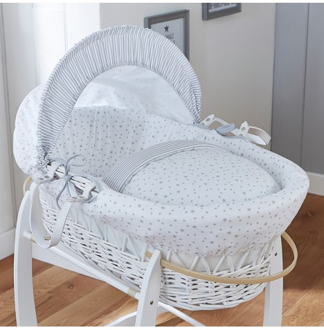 4baby Padded White Wicker Moses Basket - Sweet Little Stars Grey