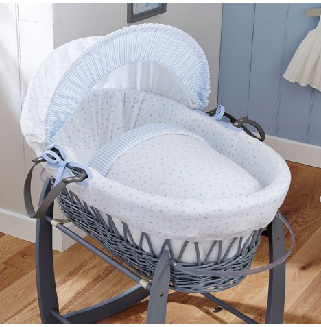 4baby Padded Grey Wicker Moses Basket - Sweet Little Stars Blue