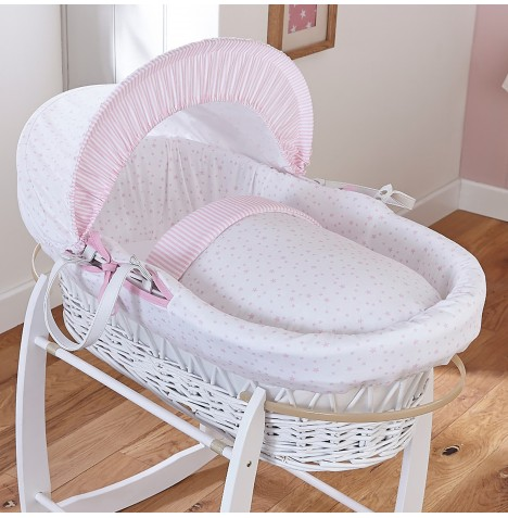 4baby Padded White Wicker Moses Basket - Sweet Little Stars Pink