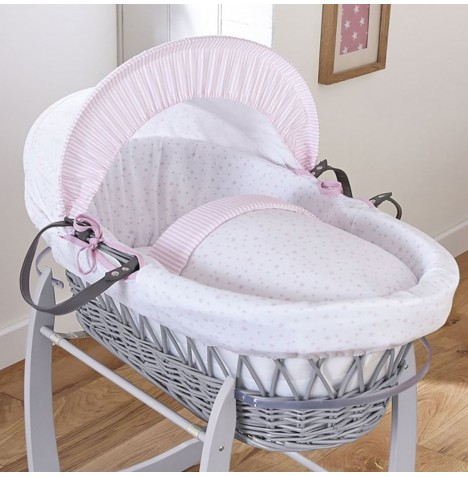 4baby Padded Grey Wicker Moses Basket - Sweet Little Stars Pink