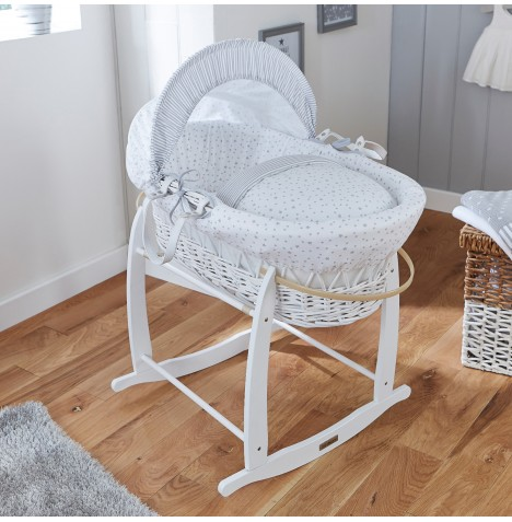4baby Padded White Wicker Moses Basket & Deluxe Rocking Stand - Sweet Little Stars Grey